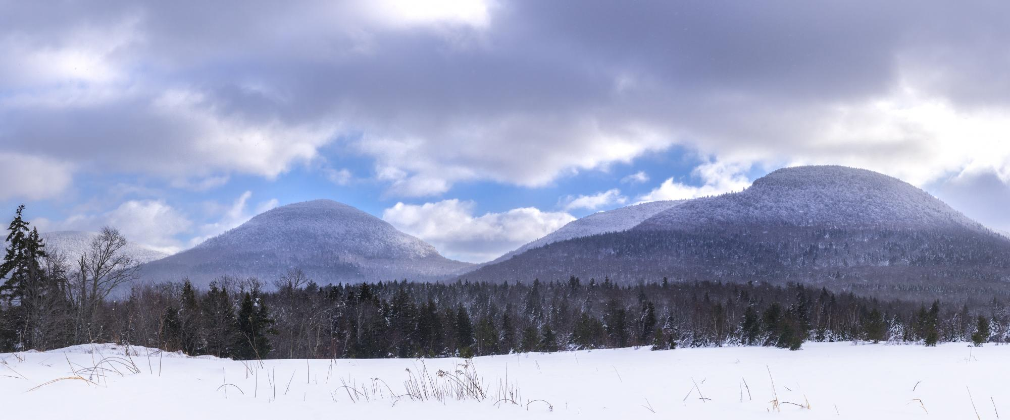 Twin and Sugarloaf mountains in the winter. Photo credit: Steve Aaron