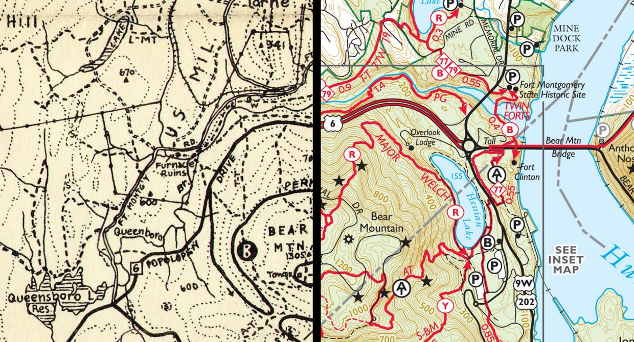 Comparing the history of trail maps. Left: 1934. Right: 2017. Graphic by Jeremy Apgar.