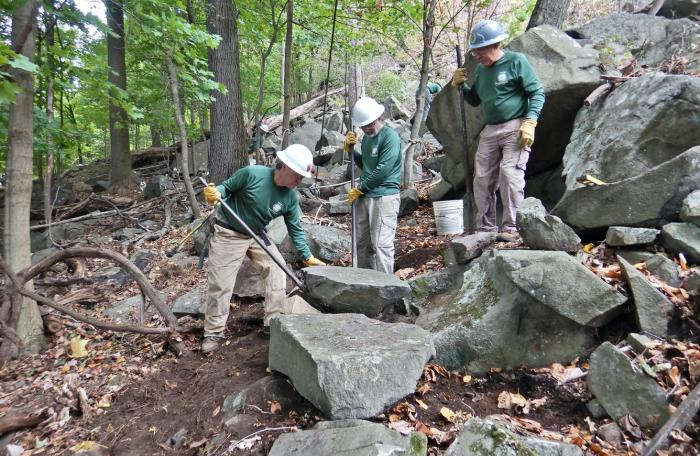 Long Distance Trails Crew working on the Long Path at Hook Mountain State Park.