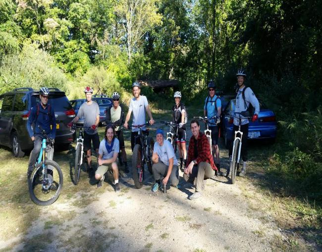 Mountain bikers after checking out a new section of trail.
