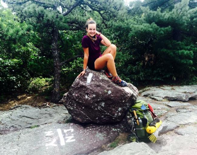 Yuliya / Kremlin on her A.T. Thru-Hike on the N.Y./N.J. Border. Photo by Yuliya Semenova.